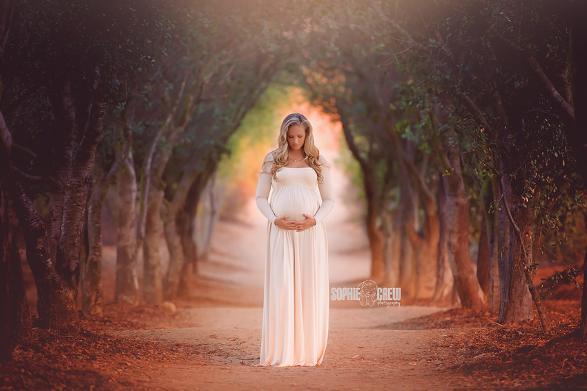 Maternity session with beautiful mother posing in the Hallway of Trees in San Diego, CA