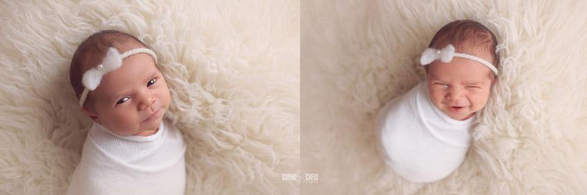 Swaddled in white on white newborn