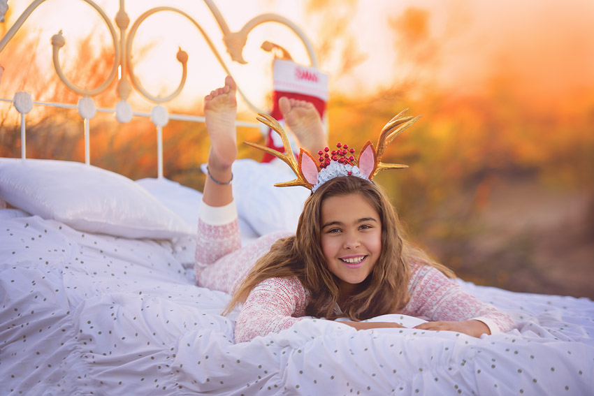 outdoor bed photo session kids