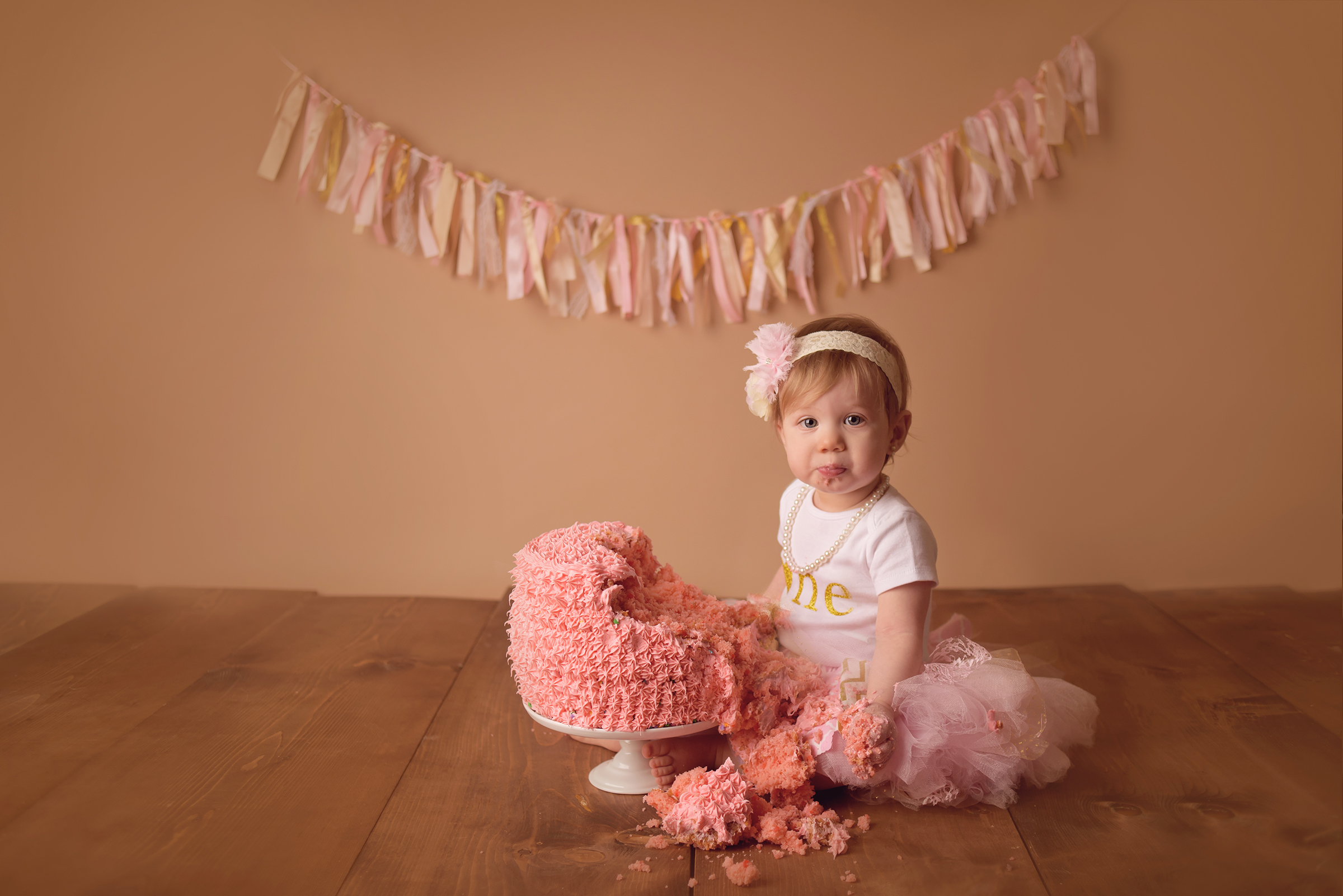 girlie themed pink cake smash vintage wood birthday photography San Diego