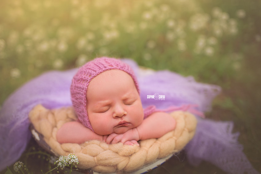 prepare for your newborn photography session.  Here is a baby girl in vintage bowl outside in wildflowers in San Diego with outdoor newborn photographer Sophie Crew Photography