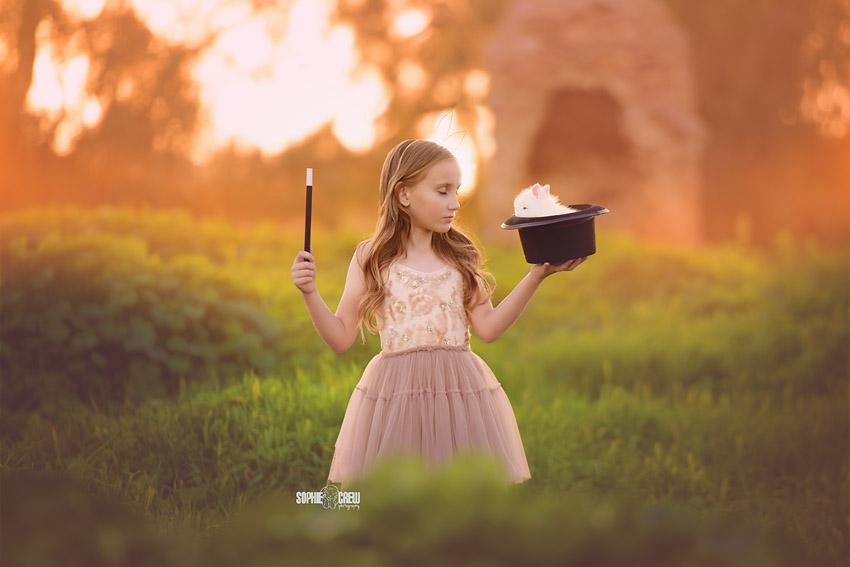 abracadabra bunny in hat child photo
