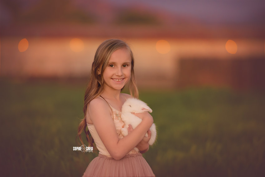 Last light of the day for a child bunny photography session