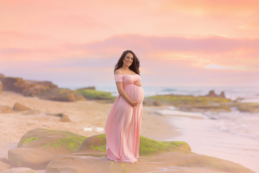 Stunning maternity and newborn portraits at beach in Orange County and San Diego County.