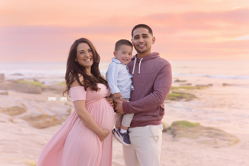 Family portraits during maternity photography session in La Jolla, CA