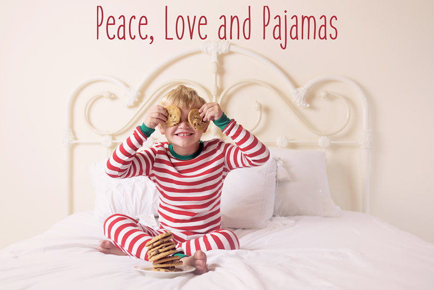 San Diego Christmas Mini Baby and Family Photographer Sophie Crew unveils her annual Peace, Love and Pajamas photo sessions in Santee, CA.
