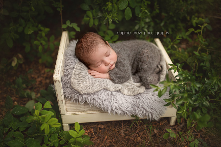 sleeping newborn on wooden bed in garden for newborn photo shoot